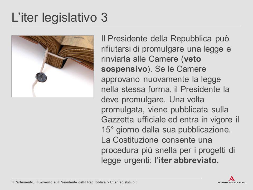 L'iter legislativo 3 Il Parlamento, il Governo e il Presidente della Repubblica > L'iter legislativo 3 Il Presidente della Repubblica può rifiutarsi d