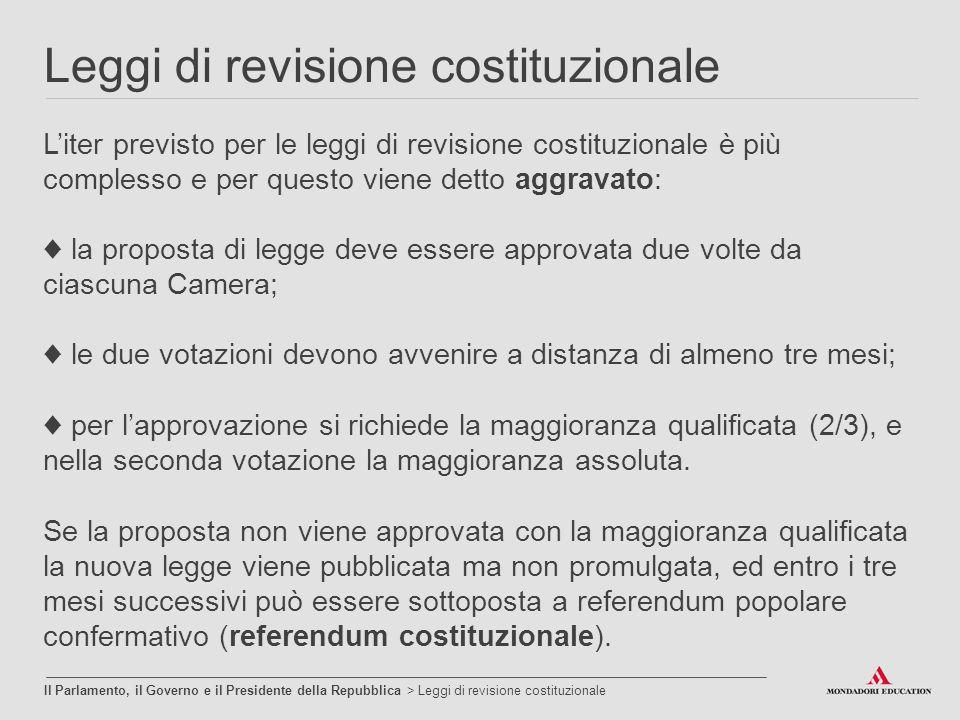 Leggi di revisione costituzionale Il Parlamento, il Governo e il Presidente della Repubblica > Leggi di revisione costituzionale L'iter previsto per l