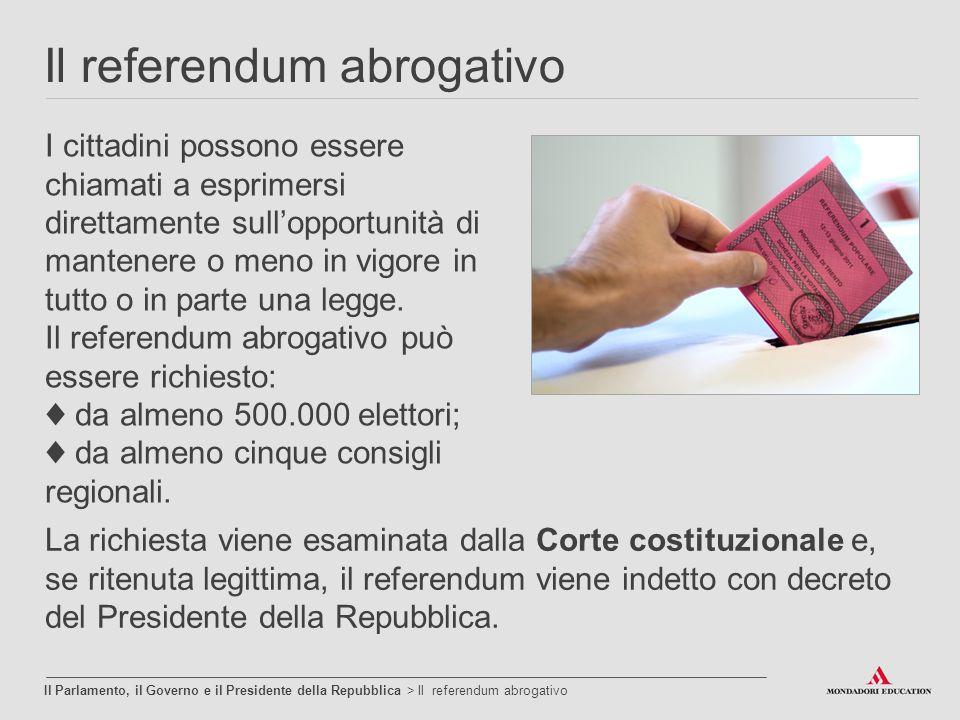 Il referendum abrogativo Il Parlamento, il Governo e il Presidente della Repubblica > Il referendum abrogativo I cittadini possono essere chiamati a e