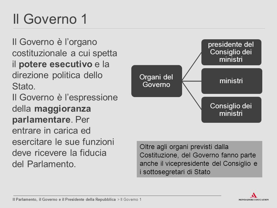 Il Governo 1 Il Parlamento, il Governo e il Presidente della Repubblica > Il Governo 1 Il Governo è l'organo costituzionale a cui spetta il potere ese