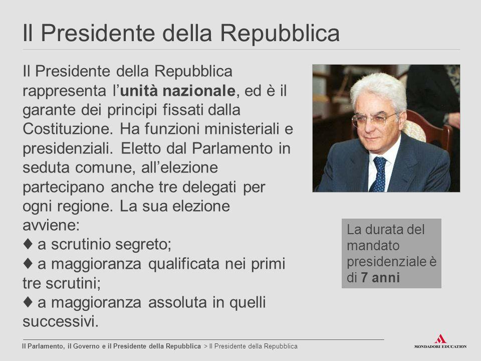 Il Presidente della Repubblica Il Parlamento, il Governo e il Presidente della Repubblica > Il Presidente della Repubblica Il Presidente della Repubbl