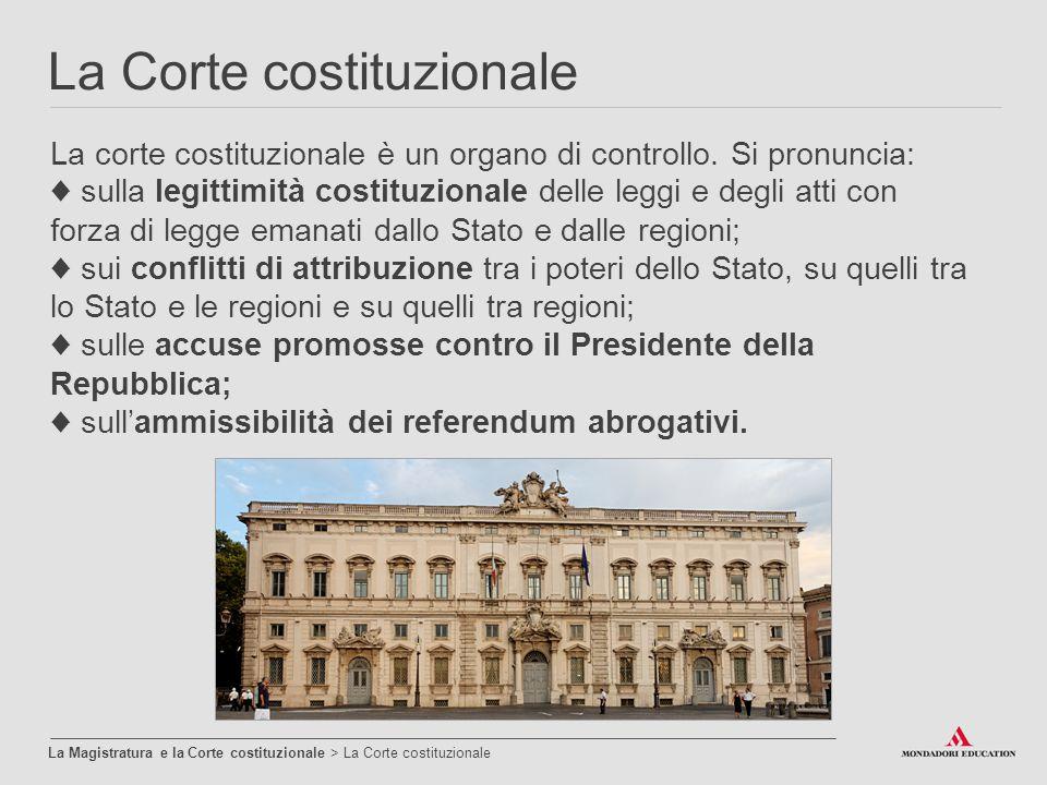 La Corte costituzionale La Magistratura e la Corte costituzionale > La Corte costituzionale La corte costituzionale è un organo di controllo. Si pronu