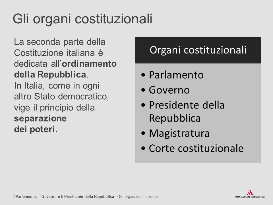 Gli organi costituzionali Il Parlamento, il Governo e il Presidente della Repubblica > Gli organi costituzionali La seconda parte della Costituzione i