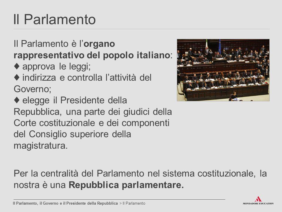 Il Parlamento Il Parlamento, il Governo e il Presidente della Repubblica > Il Parlamento Il Parlamento è l'organo rappresentativo del popolo italiano: