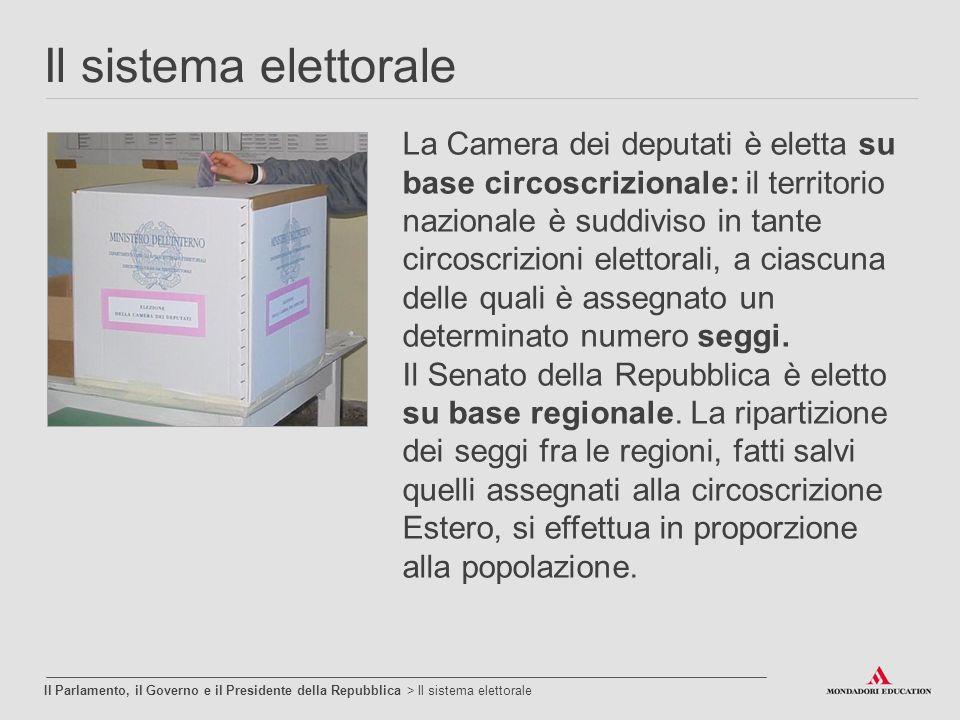 Il sistema elettorale Il Parlamento, il Governo e il Presidente della Repubblica > Il sistema elettorale La Camera dei deputati è eletta su base circo