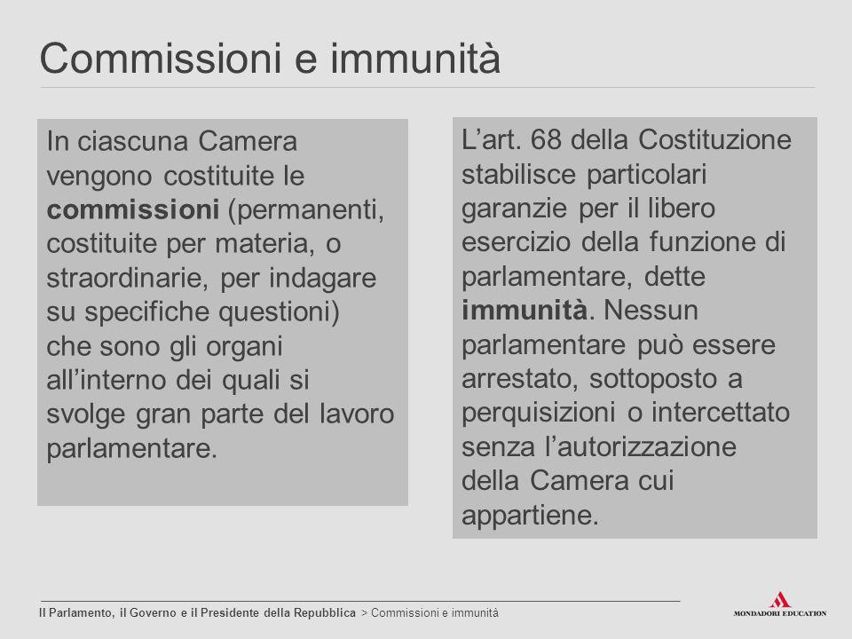 Commissioni e immunità Il Parlamento, il Governo e il Presidente della Repubblica > Commissioni e immunità In ciascuna Camera vengono costituite le co