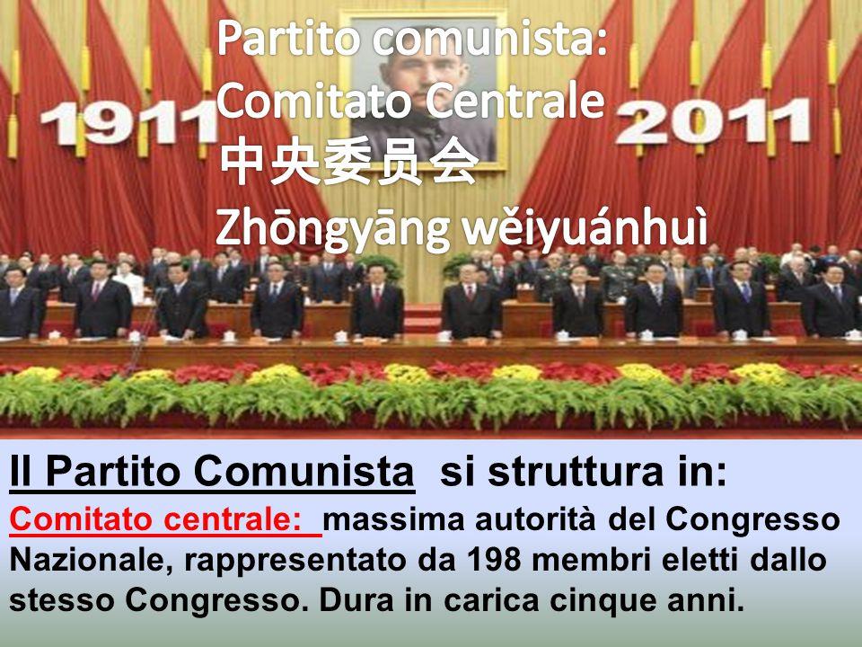 Il Partito Comunista si struttura in: Congresso Nazionale: massima istituzione del Partito Comunista Cinese, con sede nella Grande Sala del Popolo di