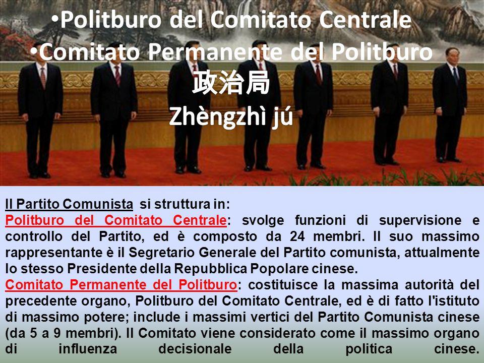 Il Partito Comunista si struttura in: Comitato centrale: massima autorità del Congresso Nazionale, rappresentato da 198 membri eletti dallo stesso Con