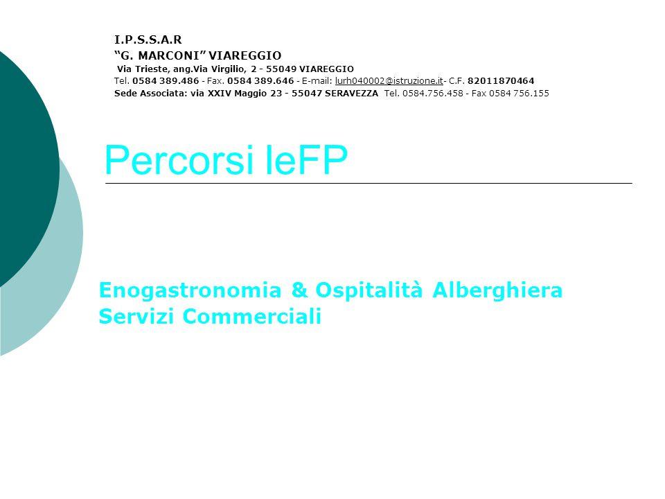 Percorsi IeFP Enogastronomia & Ospitalità Alberghiera Servizi Commerciali I.P.S.S.A.R G.
