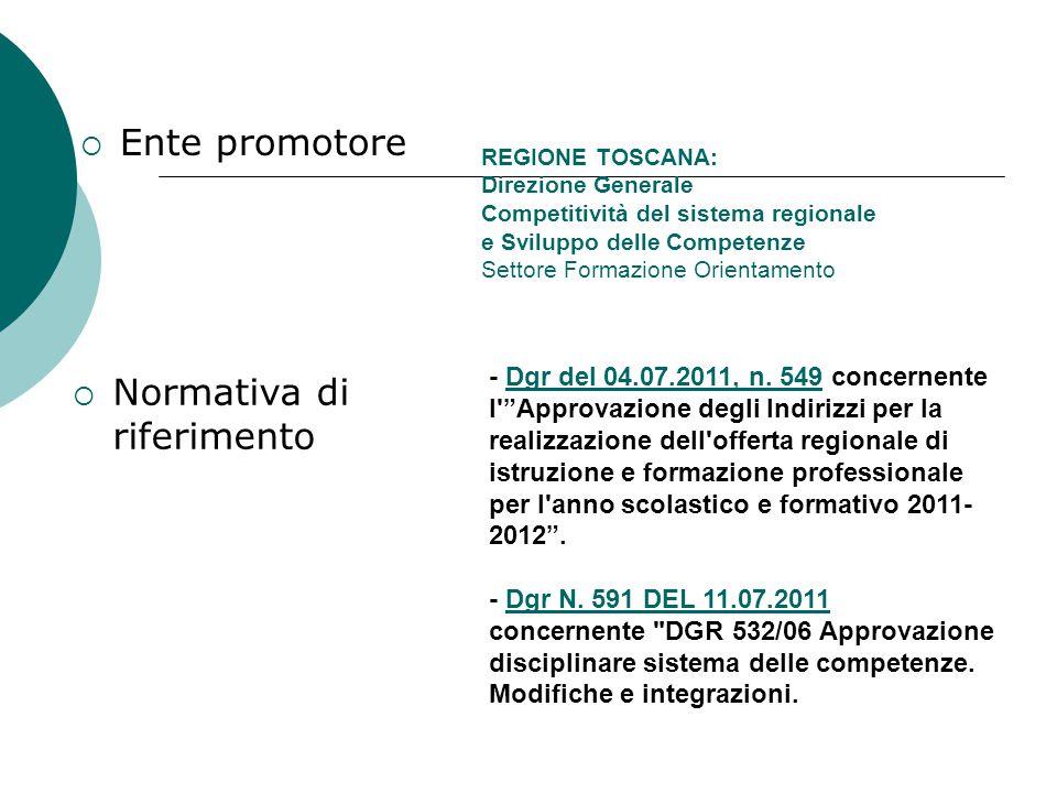 REGIONE TOSCANA: Direzione Generale Competitività del sistema regionale e Sviluppo delle Competenze Settore Formazione Orientamento  Ente promotore  Normativa di riferimento - Dgr del 04.07.2011, n.