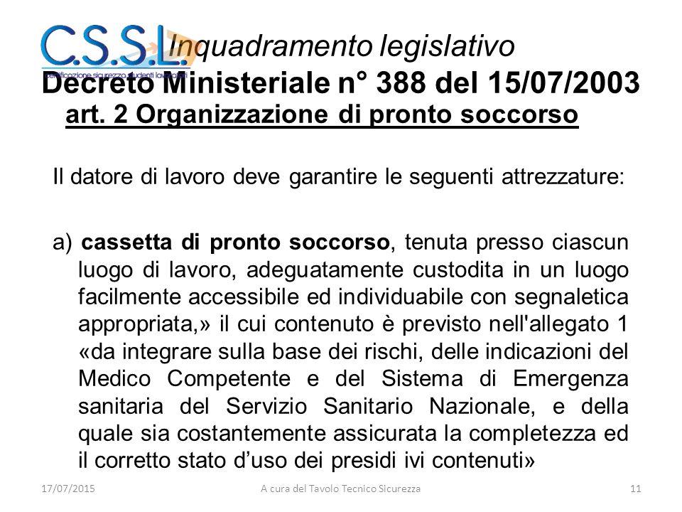 Inquadramento legislativo Decreto Ministeriale n° 388 del 15/07/2003 art. 2 Organizzazione di pronto soccorso Il datore di lavoro deve garantire le se
