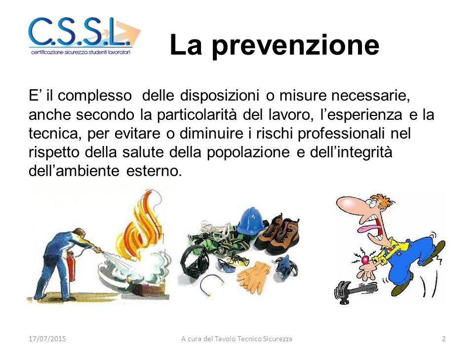 La prevenzione E' il complesso delle disposizioni o misure necessarie, anche secondo la particolarità del lavoro, l'esperienza e la tecnica, per evitare o diminuire i rischi professionali nel rispetto della salute della popolazione e dell'integrità dell'ambiente esterno.