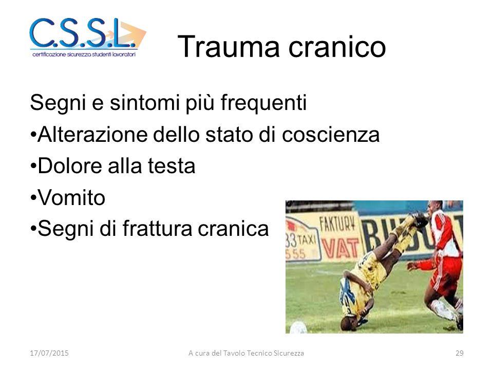 Trauma cranico Segni e sintomi più frequenti Alterazione dello stato di coscienza Dolore alla testa Vomito Segni di frattura cranica 17/07/201529A cur
