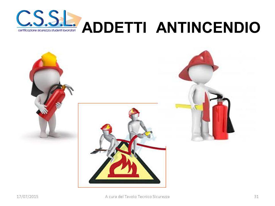 ADDETTI ANTINCENDIO 17/07/201531A cura del Tavolo Tecnico Sicurezza