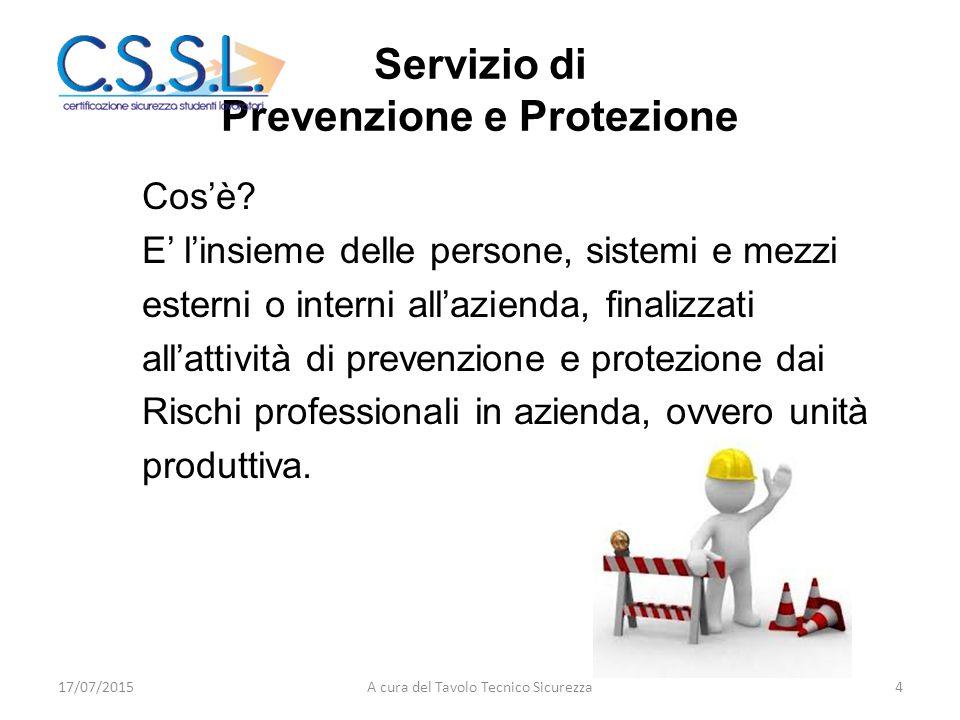 Servizio di Prevenzione e Protezione Cos'è? E' l'insieme delle persone, sistemi e mezzi esterni o interni all'azienda, finalizzati all'attività di pre