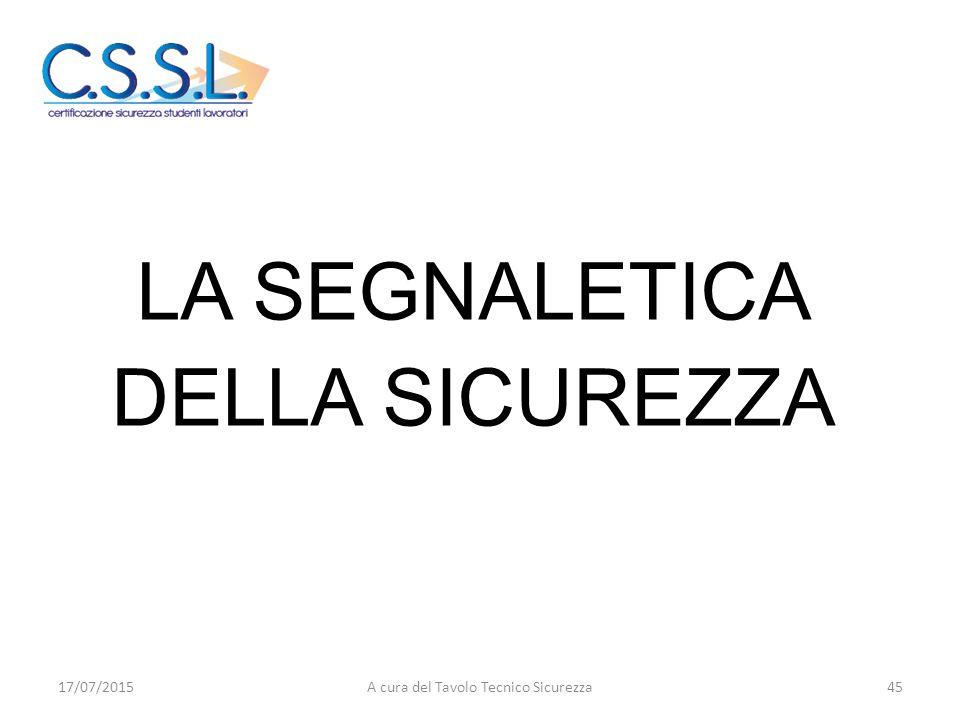 LA SEGNALETICA DELLA SICUREZZA 17/07/201545A cura del Tavolo Tecnico Sicurezza