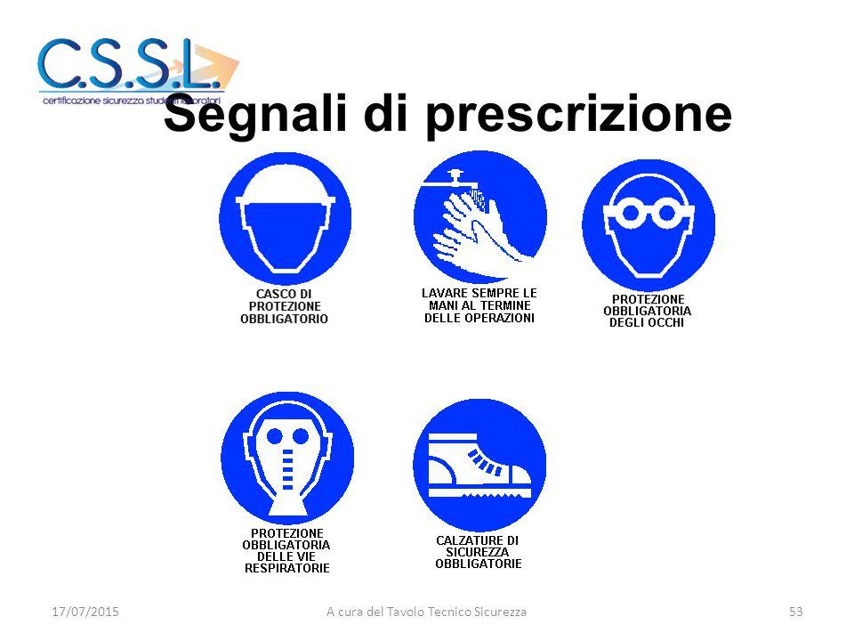 Segnali di prescrizione 17/07/201553A cura del Tavolo Tecnico Sicurezza