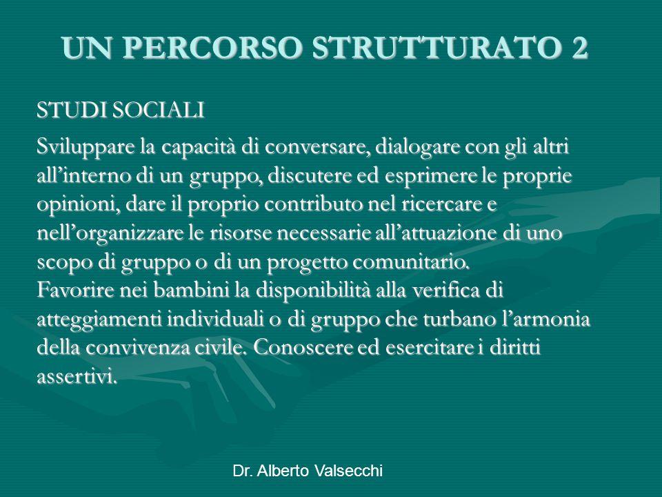 Dr. Alberto Valsecchi UN PERCORSO STRUTTURATO 2 STUDI SOCIALI Sviluppare la capacità di conversare, dialogare con gli altri all'interno di un gruppo,