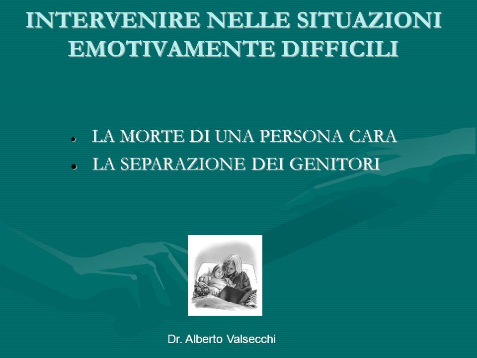 Dr. Alberto Valsecchi INTERVENIRE NELLE SITUAZIONI EMOTIVAMENTE DIFFICILI LA MORTE DI UNA PERSONA CARA LA MORTE DI UNA PERSONA CARA LA SEPARAZIONE DEI