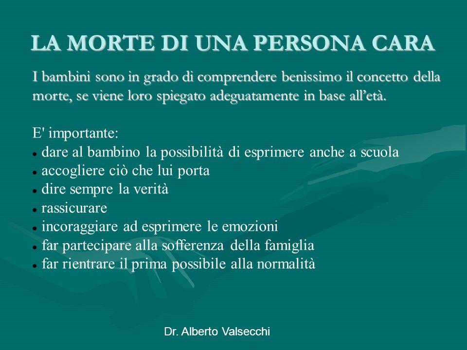 Dr. Alberto Valsecchi LA MORTE DI UNA PERSONA CARA LA MORTE DI UNA PERSONA CARA I bambini sono in grado di comprendere benissimo il concetto della mor