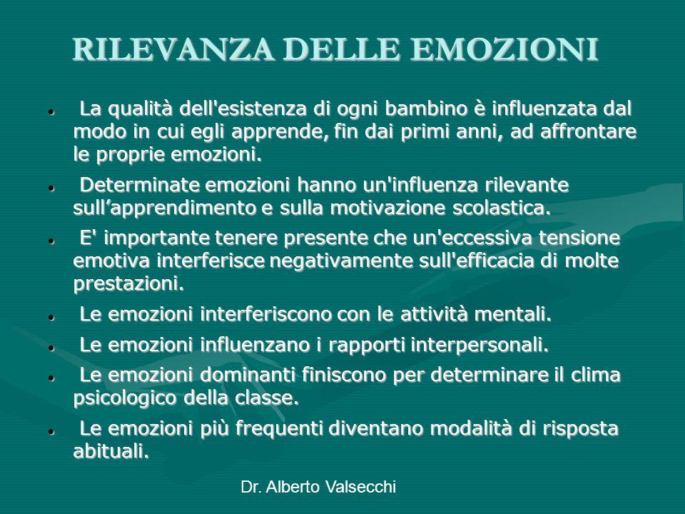 Dr. Alberto Valsecchi RILEVANZA DELLE EMOZIONI La qualità dell'esistenza di ogni bambino è influenzata dal modo in cui egli apprende, fin dai primi an