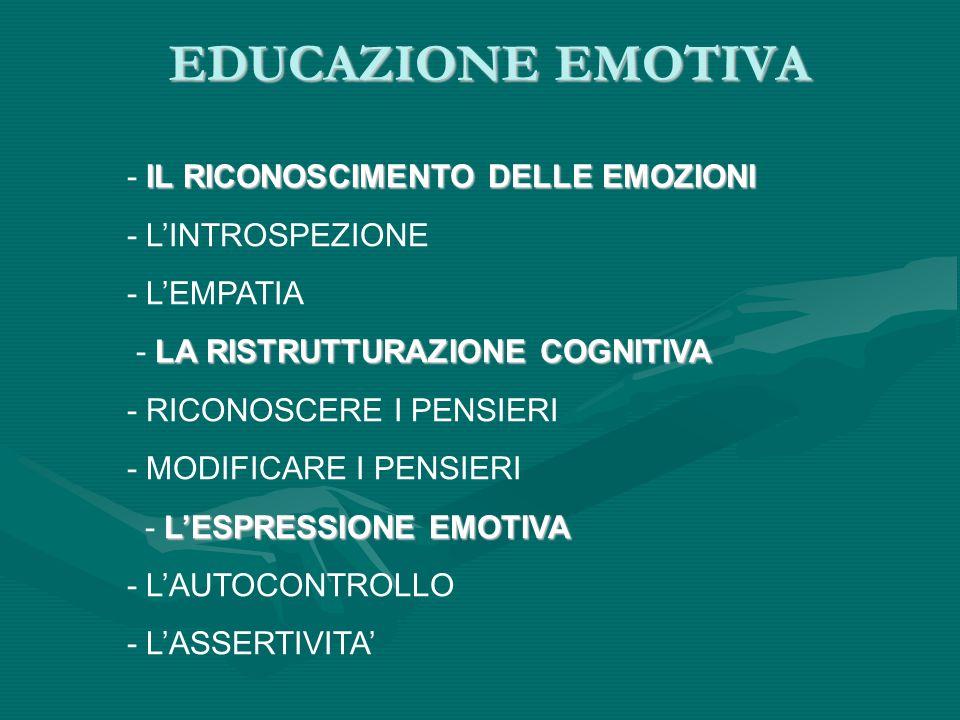 EDUCAZIONE EMOTIVA IL RICONOSCIMENTO DELLE EMOZIONI - IL RICONOSCIMENTO DELLE EMOZIONI - L'INTROSPEZIONE - L'EMPATIA LA RISTRUTTURAZIONE COGNITIVA - L