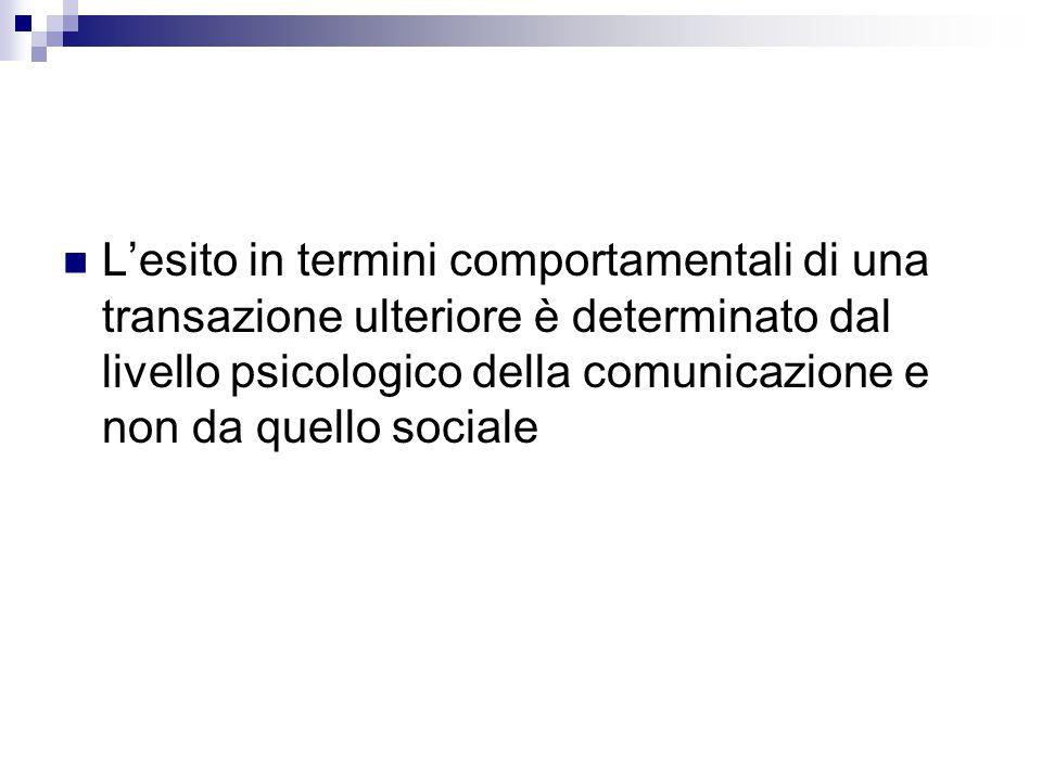 L'esito in termini comportamentali di una transazione ulteriore è determinato dal livello psicologico della comunicazione e non da quello sociale