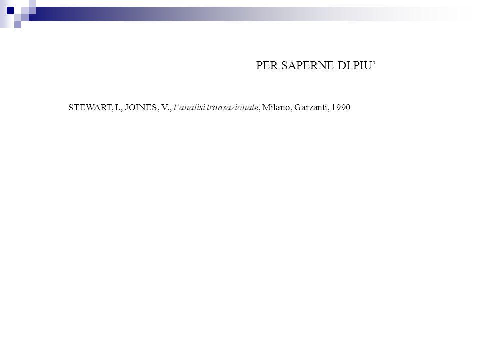 PER SAPERNE DI PIU' STEWART, I., JOINES, V., l'analisi transazionale, Milano, Garzanti, 1990