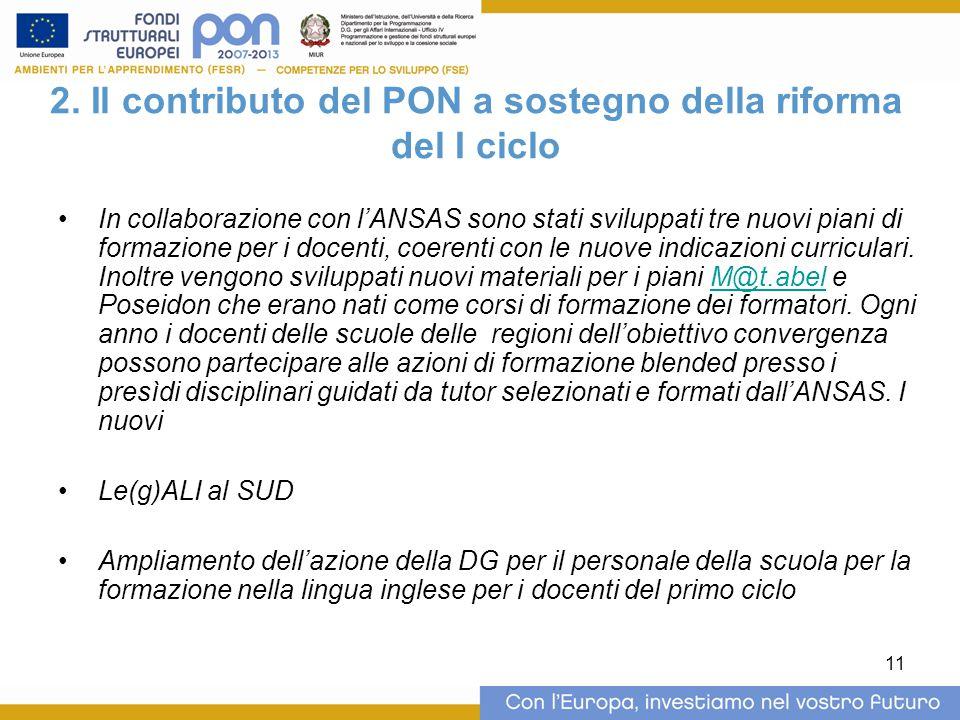 11 2. Il contributo del PON a sostegno della riforma del I ciclo In collaborazione con l'ANSAS sono stati sviluppati tre nuovi piani di formazione per