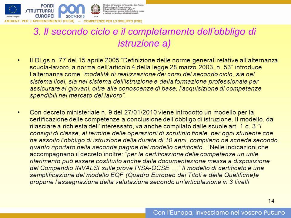 """14 3. Il secondo ciclo e il completamento dell'obbligo di istruzione a) Il DLgs n. 77 del 15 aprile 2005 """"Definizione delle norme generali relative al"""