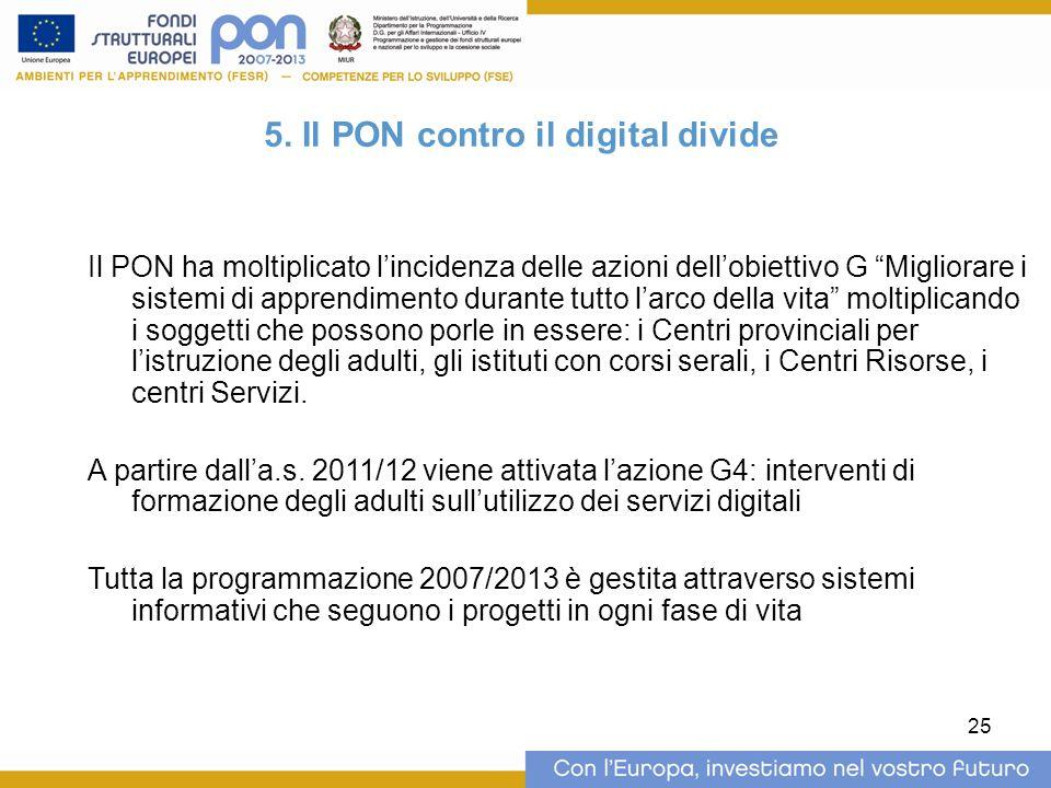 """25 5. Il PON contro il digital divide Il PON ha moltiplicato l'incidenza delle azioni dell'obiettivo G """"Migliorare i sistemi di apprendimento durante"""