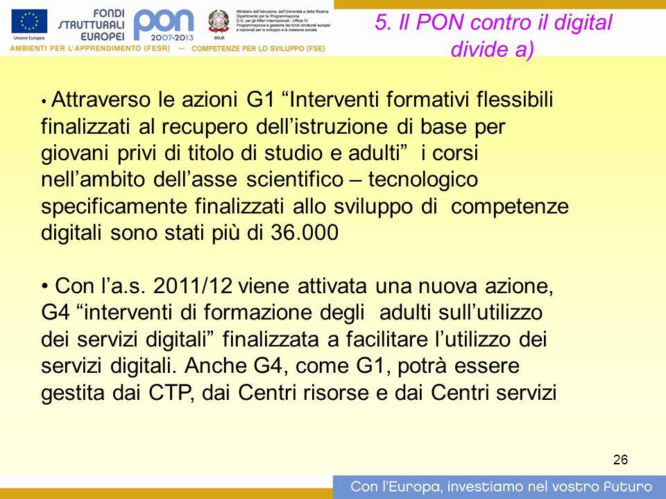 """26 5. Il PON contro il digital divide a) Attraverso le azioni G1 """"Interventi formativi flessibili finalizzati al recupero dell'istruzione di base per"""