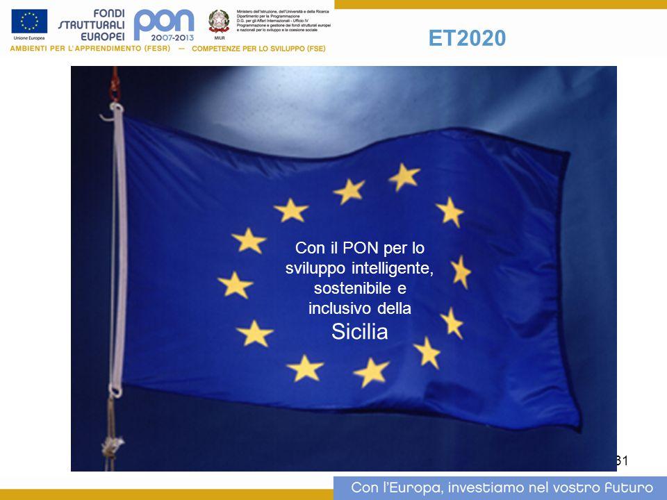 31 ET2020 Con il PON per lo sviluppo intelligente, sostenibile e inclusivo della Sicilia