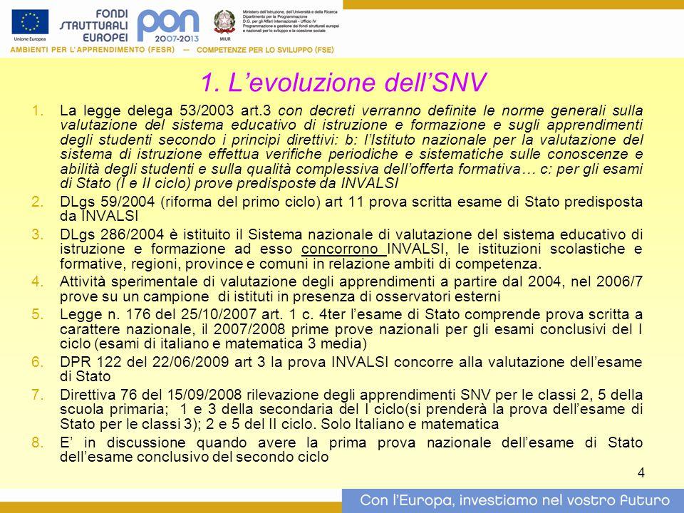 4 1. L'evoluzione dell'SNV  La legge delega 53/2003 art.3 con decreti verranno definite le norme generali sulla valutazione del sistema educativo di