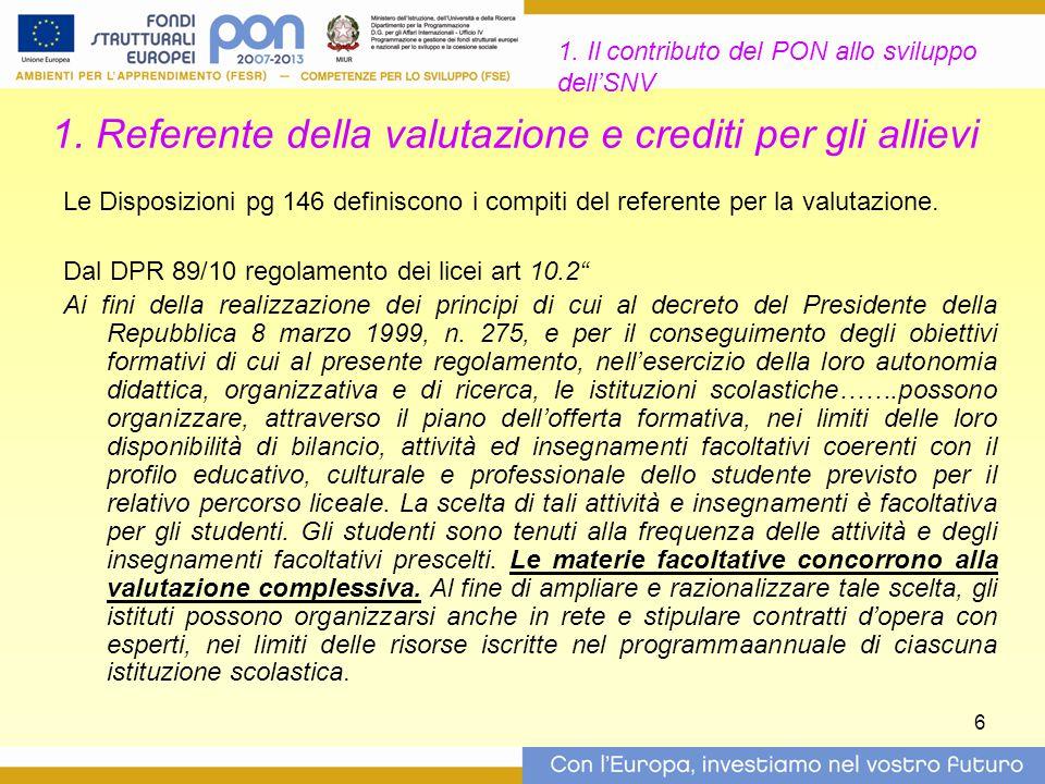 6 1. Referente della valutazione e crediti per gli allievi Le Disposizioni pg 146 definiscono i compiti del referente per la valutazione. Dal DPR 89/1