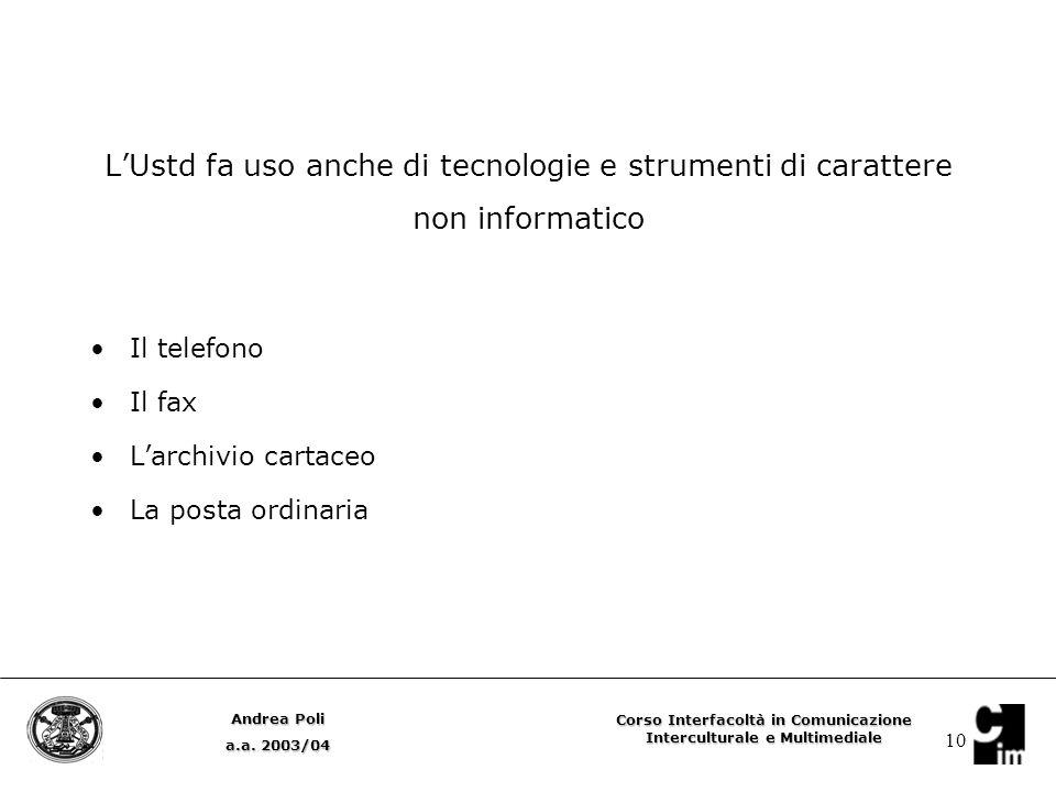 10 L'Ustd fa uso anche di tecnologie e strumenti di carattere non informatico Il telefono Il fax L'archivio cartaceo La posta ordinaria Andrea Poli a.a.