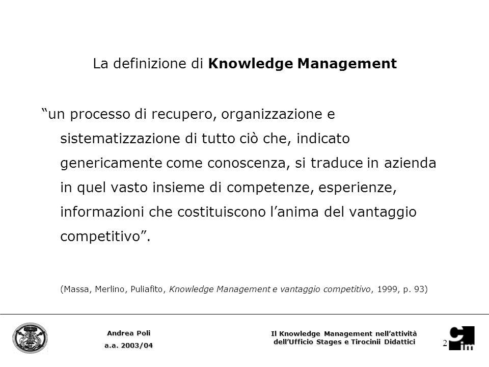 2 La definizione di Knowledge Management un processo di recupero, organizzazione e sistematizzazione di tutto ciò che, indicato genericamente come conoscenza, si traduce in azienda in quel vasto insieme di competenze, esperienze, informazioni che costituiscono l'anima del vantaggio competitivo .