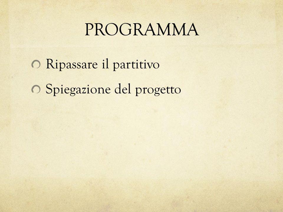 PROGRAMMA Ripassare il partitivo Spiegazione del progetto