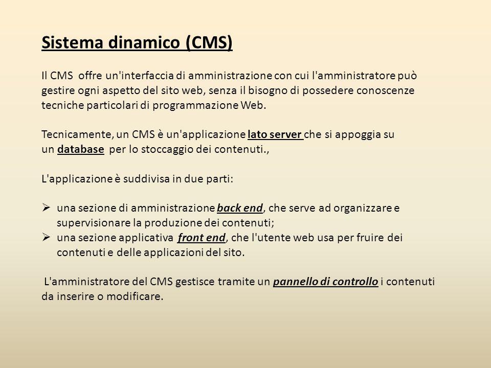 Requisiti tecnici per CMS PHP MySql Server Web