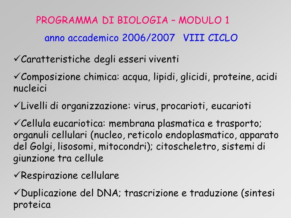 PROGRAMMA DI BIOLOGIA – MODULO 1 anno accademico 2006/2007 VIII CICLO Caratteristiche degli esseri viventi Composizione chimica: acqua, lipidi, glicidi, proteine, acidi nucleici Livelli di organizzazione: virus, procarioti, eucarioti Cellula eucariotica: membrana plasmatica e trasporto; organuli cellulari (nucleo, reticolo endoplasmatico, apparato del Golgi, lisosomi, mitocondri); citoscheletro, sistemi di giunzione tra cellule Respirazione cellulare Duplicazione del DNA; trascrizione e traduzione (sintesi proteica