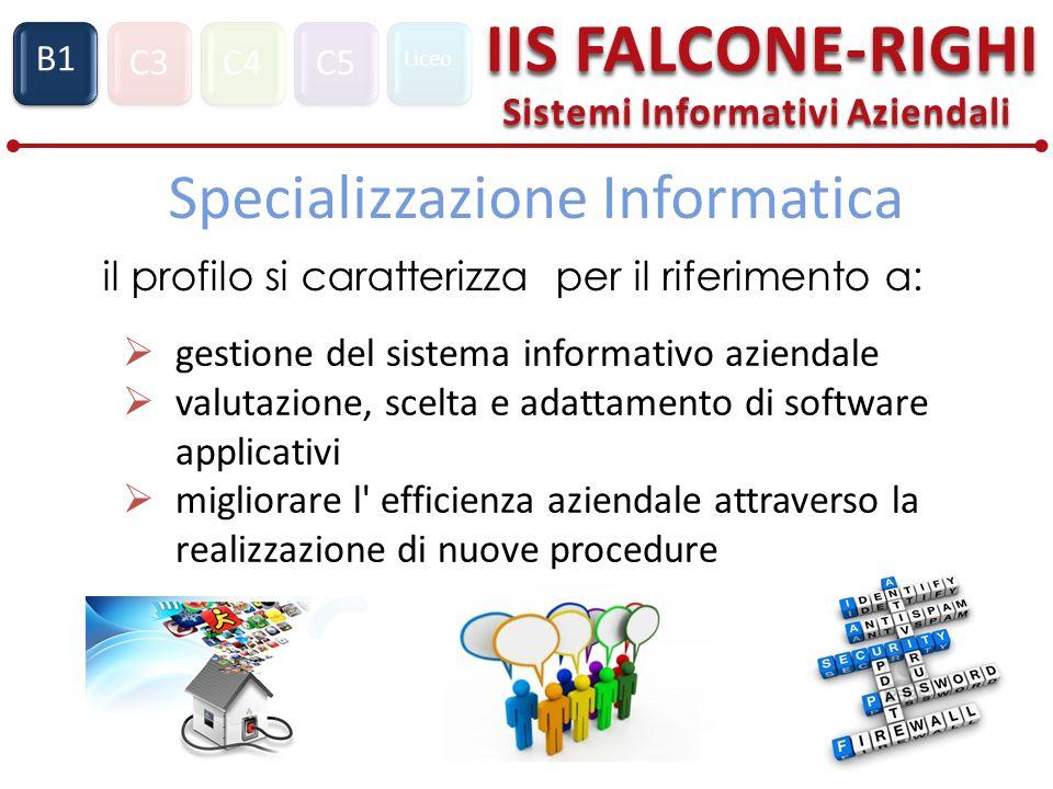 C3C4C5 Liceo IIS FALCONE-RIGHI Sistemi Informativi Aziendali S1 B1 Specializzazione Informatica il profilo si caratterizza per il riferimento a:  gestione del sistema informativo aziendale  valutazione, scelta e adattamento di software applicativi  migliorare l efficienza aziendale attraverso la realizzazione di nuove procedure