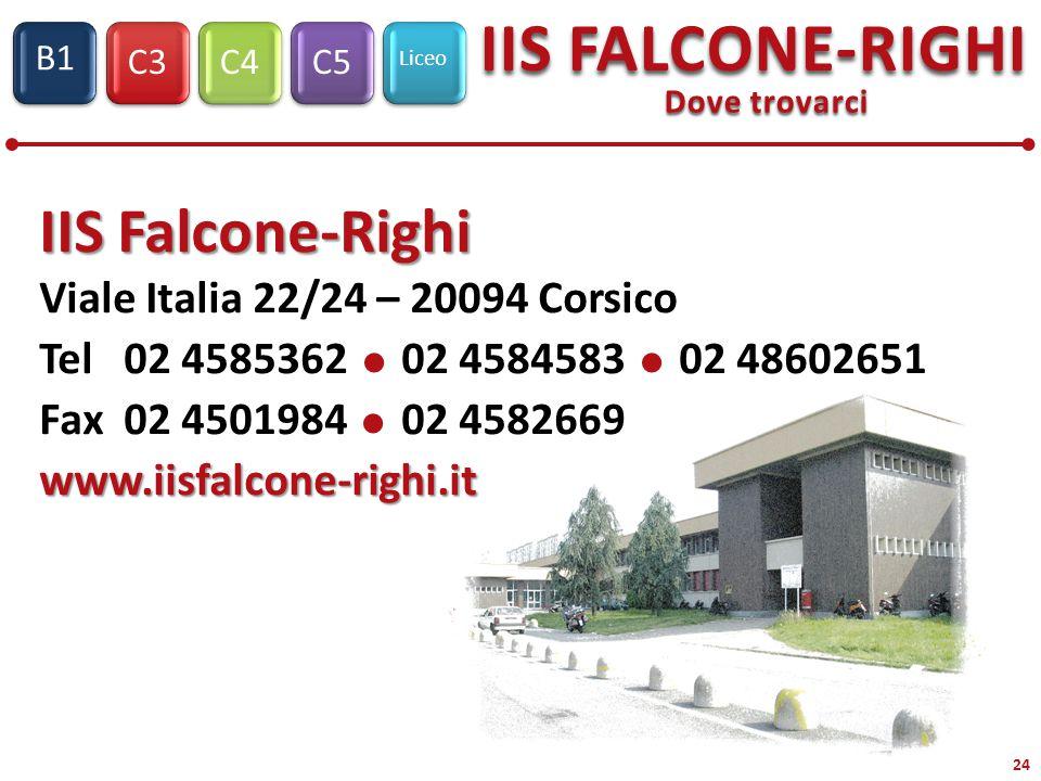 C3C4C5 Liceo IIS FALCONE-RIGHI S1 B1 24 Dove trovarci IIS Falcone-Righi Viale Italia 22/24 – 20094 Corsico Tel 02 4585362  02 4584583  02 48602651 Fax 02 4501984  02 4582669www.iisfalcone-righi.it