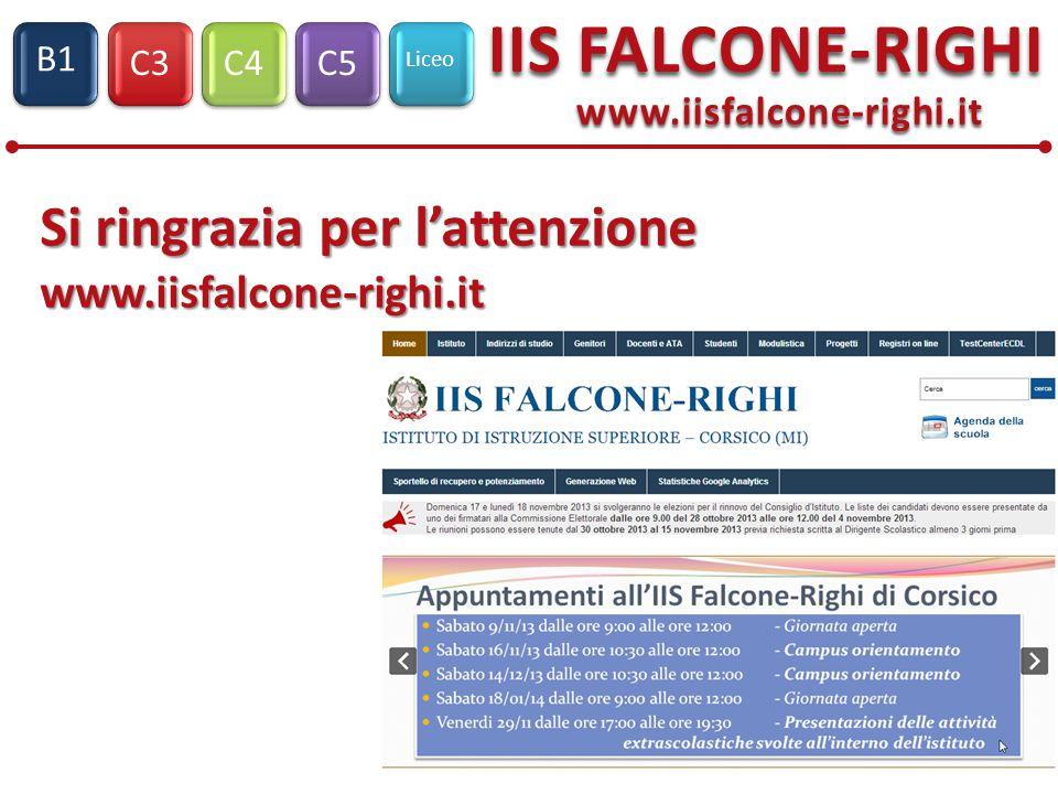 C3C4C5 Liceo IIS FALCONE-RIGHI S1 B1 Si ringrazia per l'attenzione Si ringrazia per l'attenzione www.iisfalcone-righi.it www.iisfalcone-righi.it