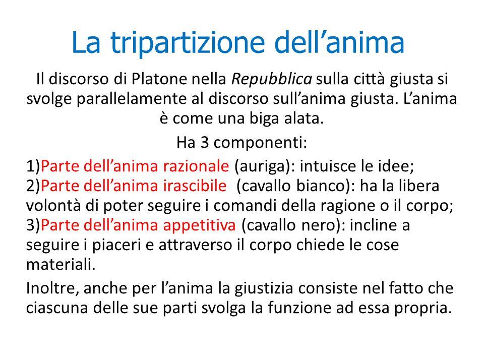 La tripartizione dell'anima Il discorso di Platone nella Repubblica sulla città giusta si svolge parallelamente al discorso sull'anima giusta. L'anima