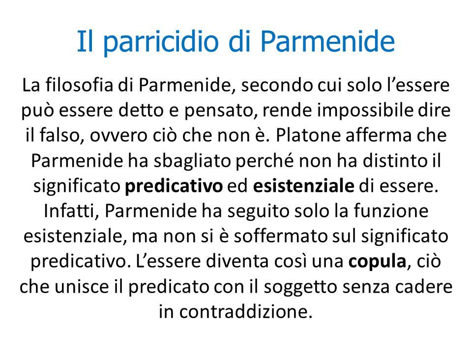 Il parricidio di Parmenide La filosofia di Parmenide, secondo cui solo l'essere può essere detto e pensato, rende impossibile dire il falso, ovvero ci