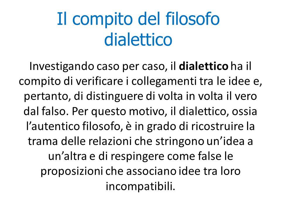 Il compito del filosofo dialettico Investigando caso per caso, il dialettico ha il compito di verificare i collegamenti tra le idee e, pertanto, di di