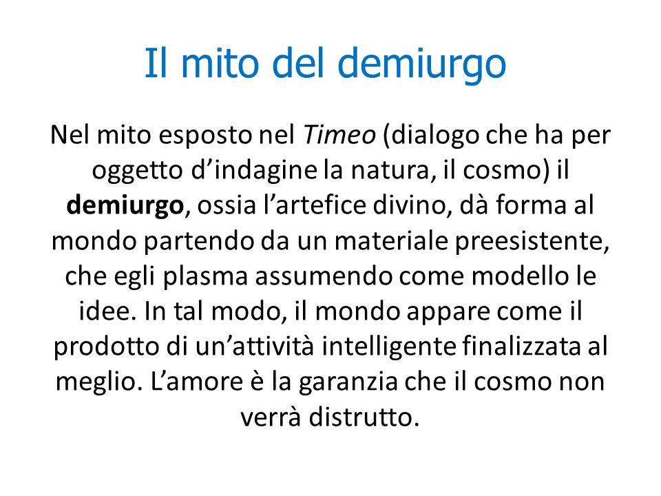 Il mito del demiurgo Nel mito esposto nel Timeo (dialogo che ha per oggetto d'indagine la natura, il cosmo) il demiurgo, ossia l'artefice divino, dà f