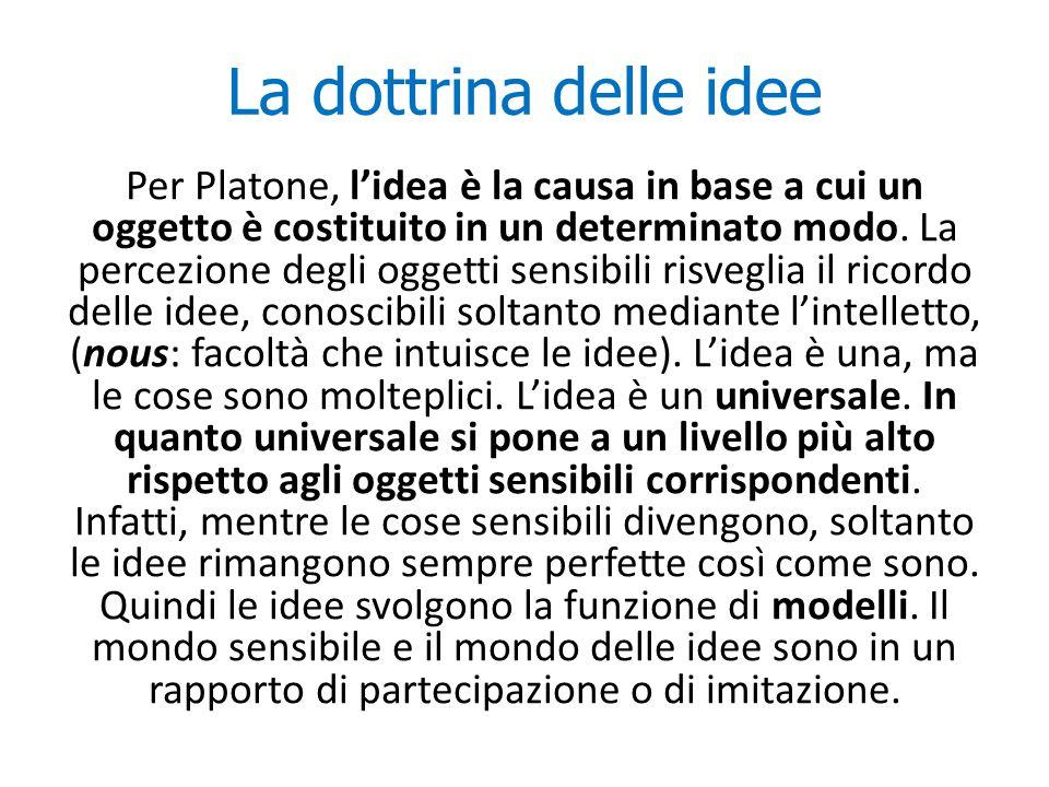 La dottrina delle idee Per Platone, l'idea è la causa in base a cui un oggetto è costituito in un determinato modo. La percezione degli oggetti sensib