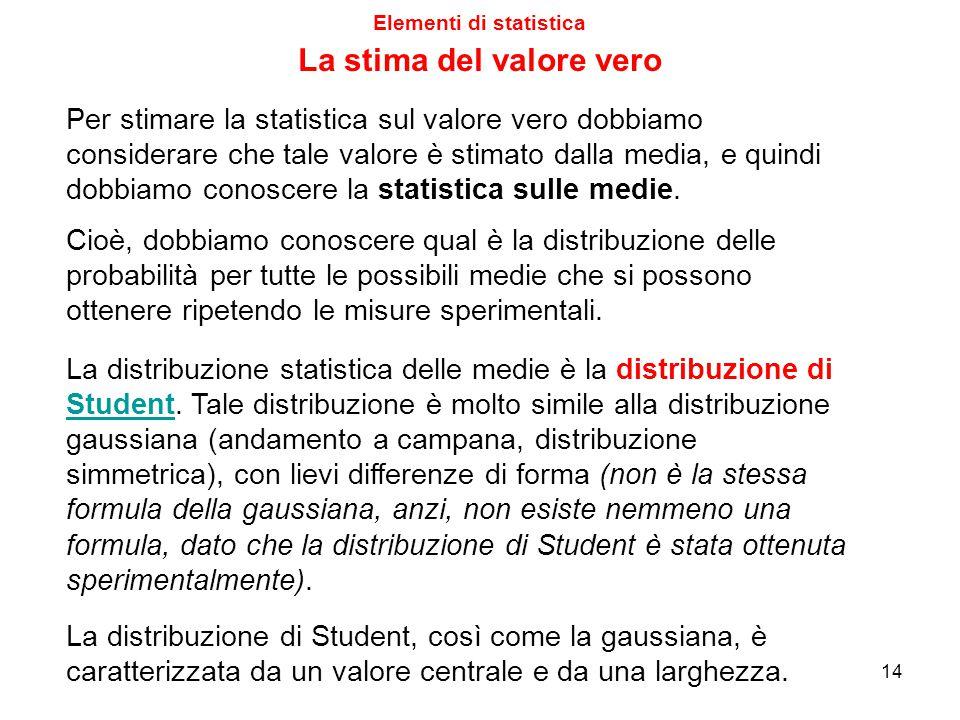 Per stimare la statistica sul valore vero dobbiamo considerare che tale valore è stimato dalla media, e quindi dobbiamo conoscere la statistica sulle