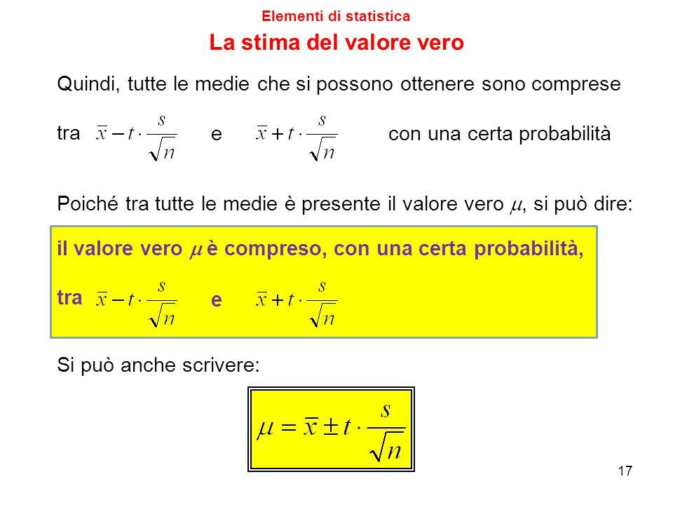 Elementi di statistica La stima del valore vero Quindi, tutte le medie che si possono ottenere sono comprese tra e con una certa probabilità Poiché tr
